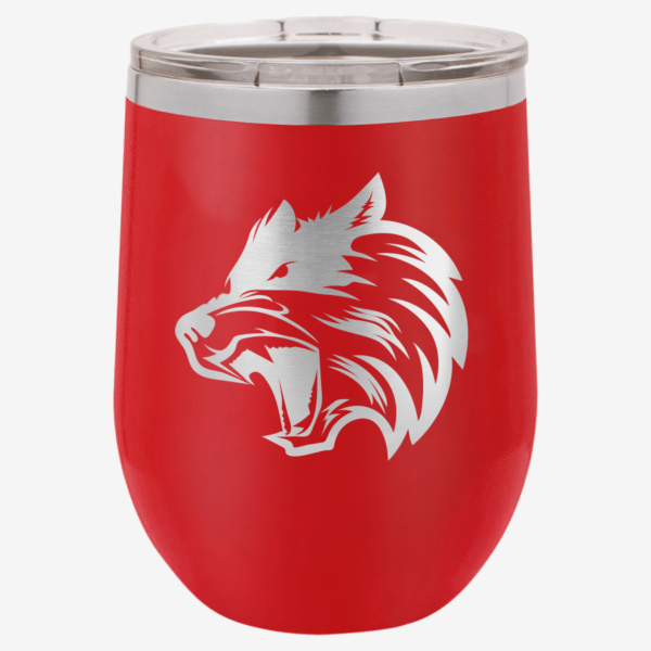 Red 12 oz Polar Camel Stemless Wine Tumbler with Wolf Art